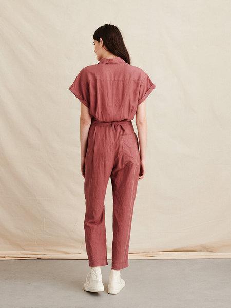 Alex Mill Drapey Jumpsuit in Tencel Linen - Rose Brown
