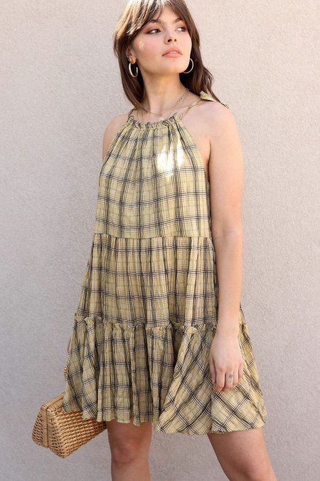 Moon River Mustard Plaid Ruffle Tiered Dress