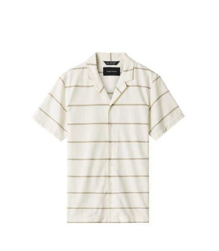 Wings+Horns Oxford Striped Deck Shirt - Moss Stripe
