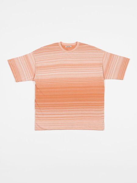 Auralee Hard Twist Border Double Cloth Tee - Light Pink