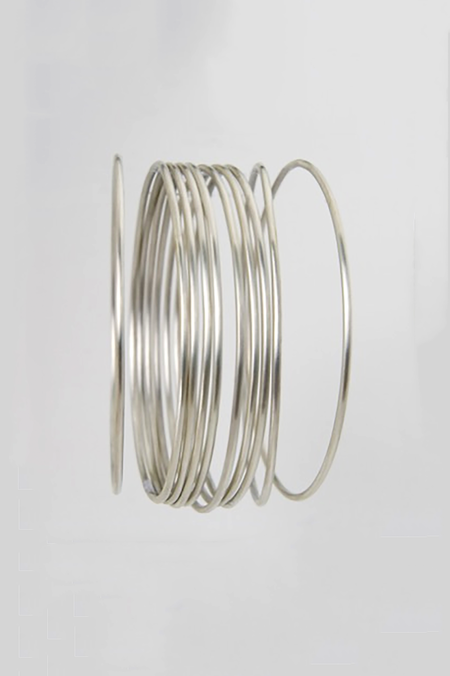 Jane Diaz Simple Round Wire Bangle - Sterling Silver