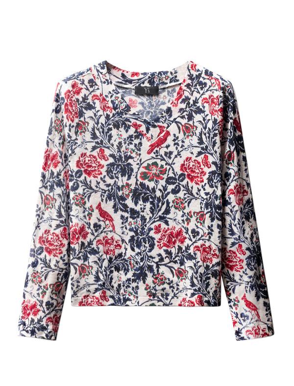 Ys by Yohji Yamamoto Womens Floral Knit Longsleeve Top
