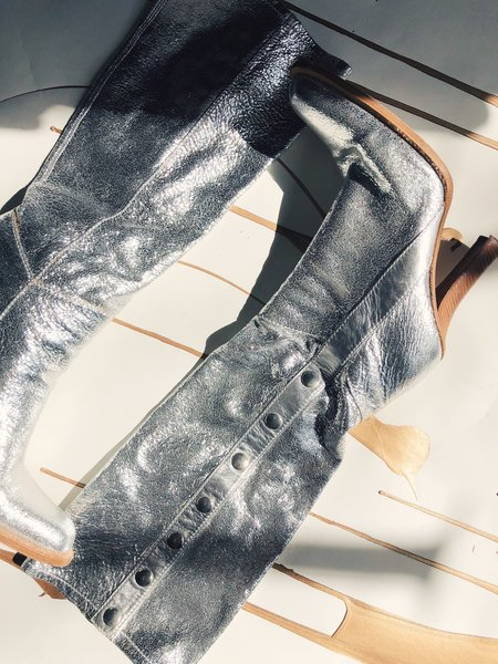 Pre-loved Casadei Leather Knee High Boots - Silver