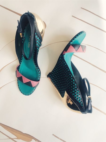 [pre-loved] Sergio Rossi Wedge Sandals - teal
