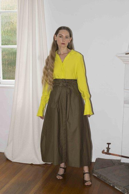 Kamperett Peregrine Silk Blouse - Chartreuse