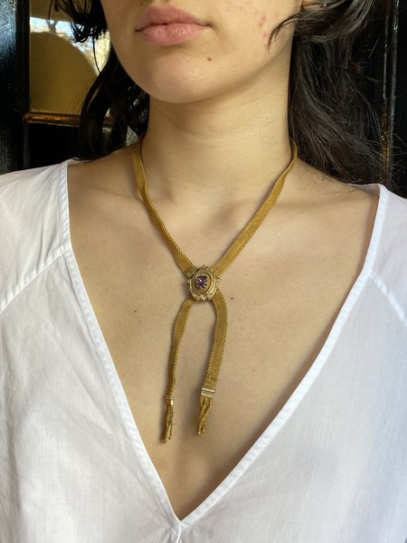ANTIQUE VICTORIAN MESH NECKLACE - Gold Tone