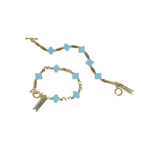 Marijke Bouchier 'Faux Turquoise Clover Bracelet' - Brass