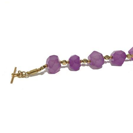 Marijke Bouchier 'Pink Jade Bracelet' - Brass
