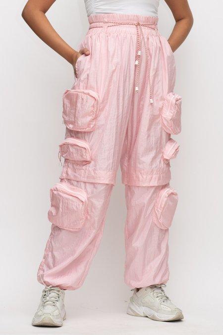 Kanak Nylon Joggers - Baby Pink