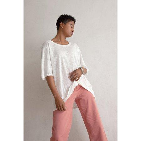 Ali Golden Oversized Linen T Shirt - Bone