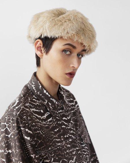 Clyde Fur Beret - New Ecru