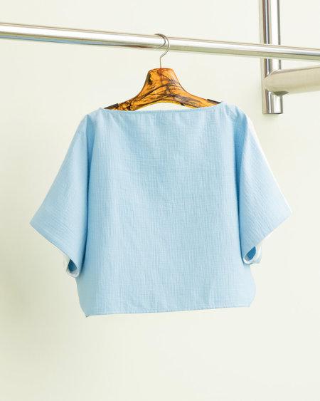Rachel Comey Shell Top in White-Sky Blue Foam
