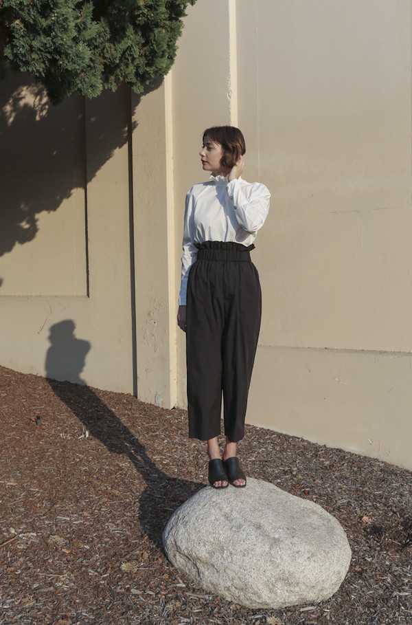 Suzanne Rae Paperbag Waist Pants in Black
