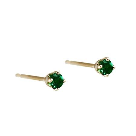 Lumo Jewelry Lumo Tiny Emerald Studs - 14k yellow gold