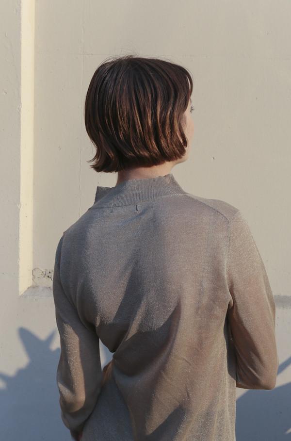Pari Desai Althea Fine Gauge Metallic Sweater in Gold