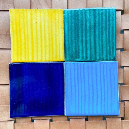 Made Solid Talavera Tile Coaster Set - Yellow/Blue