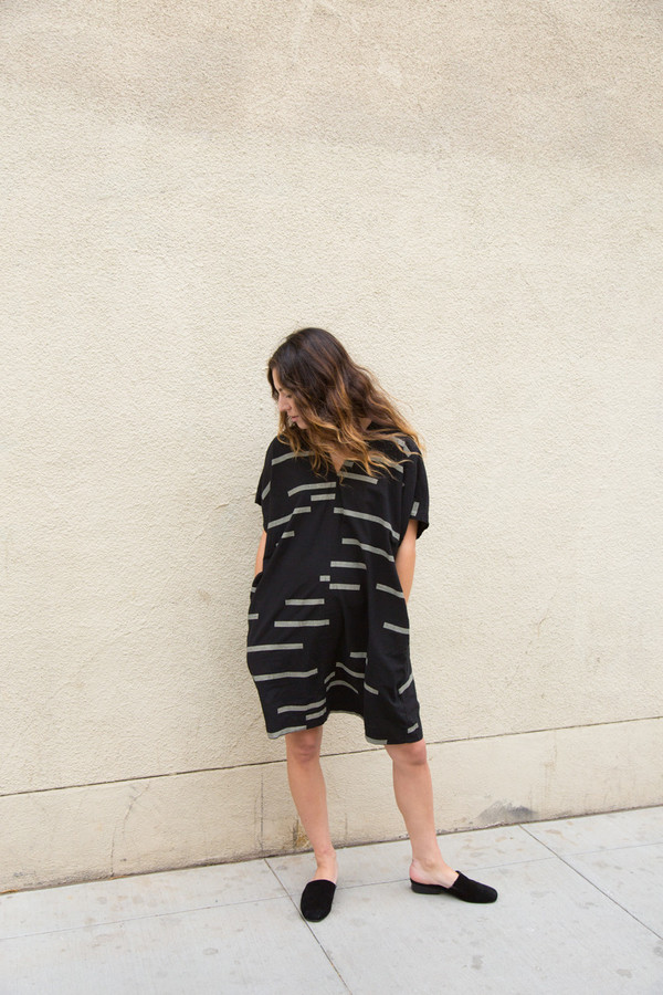 Uzi Broken Stripe V Dress