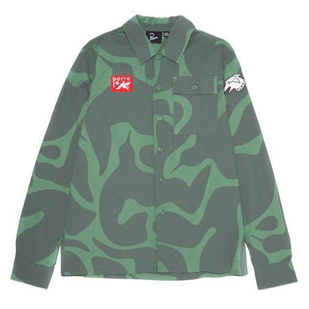 by Parra Bird Camo Button Up Shirt - Camo Green