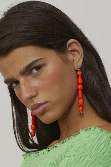 PALOMA WOOL Lori Dangling Crystal Earrings - Fluorescent Red-Orange