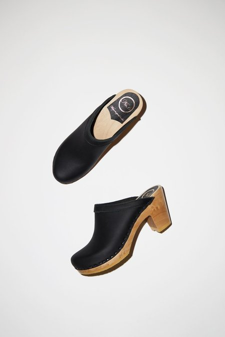 No.6 Old School Clog on High Heel - Black