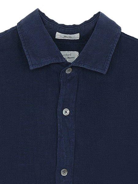 Hartford Sammy Linen Shirt - Deep Blue