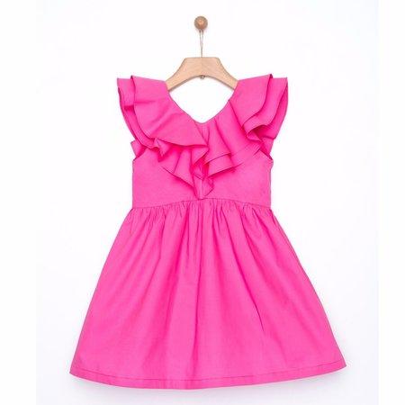 Kids yellowsub frilled dress - fucshia