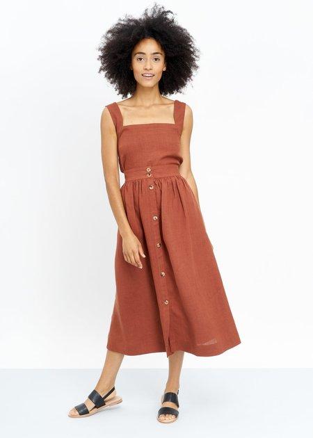 Jungle Folk Lourdes Linen Skirt - Rust