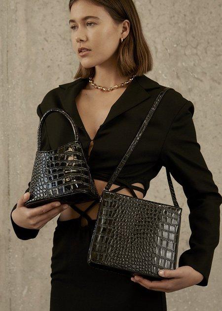 BRIE LEON Audrey Bag - Black Matte Croc