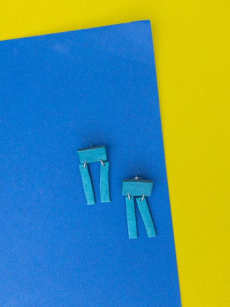 amy george robot earring - teal