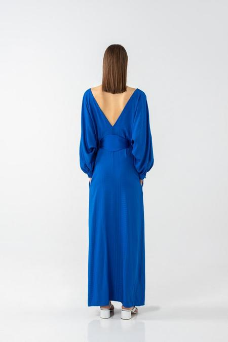 AISHA DIRI LONG SLEEVED CAFTAN DRESS - Saphire Blue