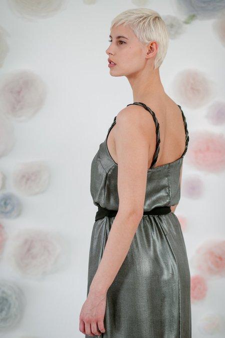 1014Lex. SILK SILVER DRESS WITH FRINGE - Grey