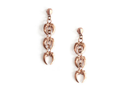 K/ller Collection Claw Link Earrings - Rose Gold