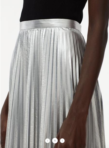 Tibi Metallic Pleated Skirt - silver