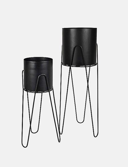 Broste Copenhagen Lisa Flowerpot and Iron Stand Set of 2 - Black