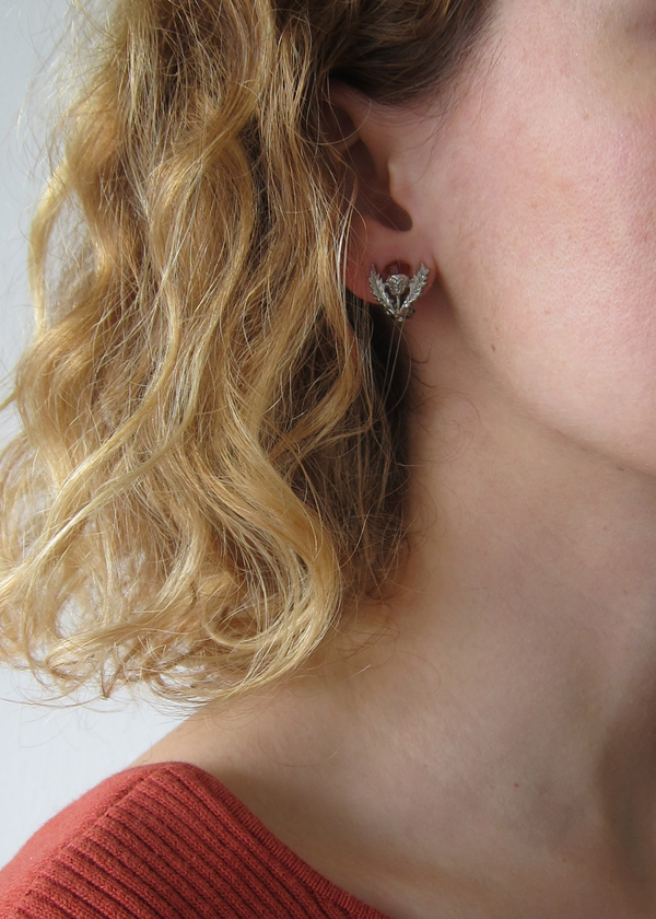 scottish thistle clip on earrings