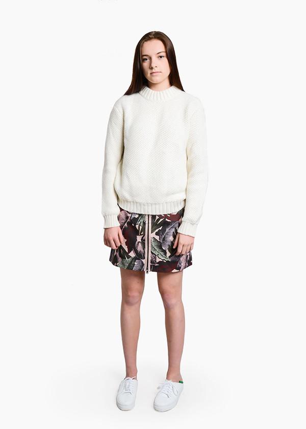 Svilu - Palm Print Zipper A-Line Skirt