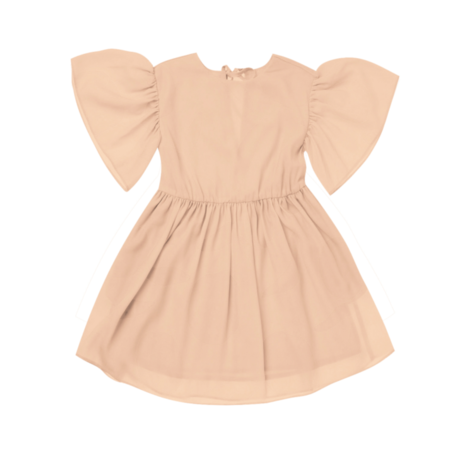 Kids Omamimini Fit & Flare Ruffled Sleeve Dress - Brick