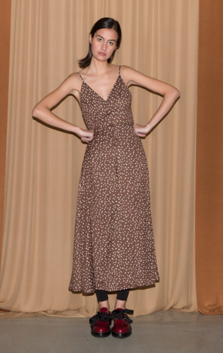 ALI GOLDEN WRAP TANK DRESS - BROWN DOT