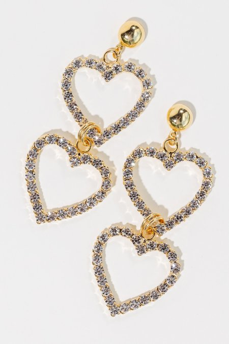 LARUICCI Double Crystal Heart Earrings