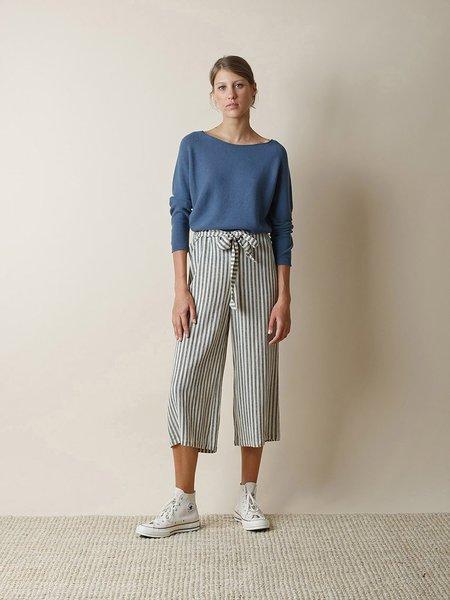 Indi & Cold Striped Crop Trouser - Black