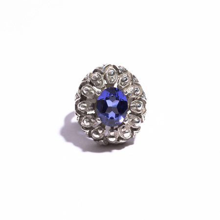 Saint Claude Large Ring with Light Blue Tanzanite Stone - Silver