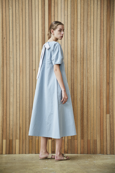 Maison De Ines GATHERED NECK DRESS WITH RIBBON DETAIL - sky blue