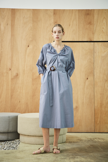 Maison De Ines VOLUME SLEEVE FEM DRESS - sky blue