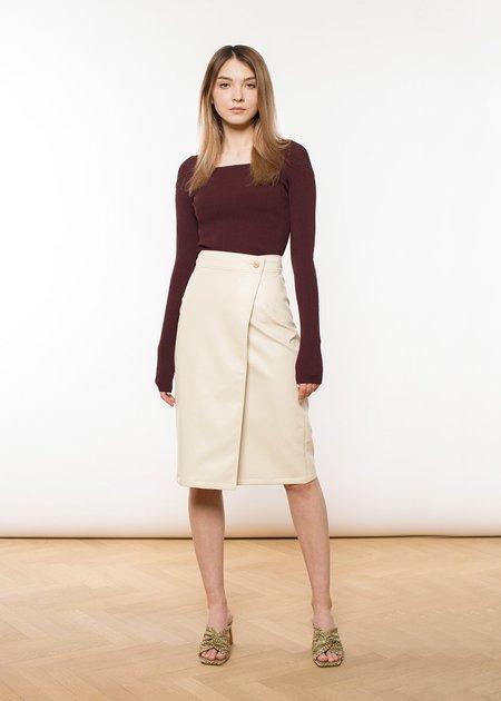 ÁERON Brenda Faux Leather Wrap Pencil Skirt - Eggshell
