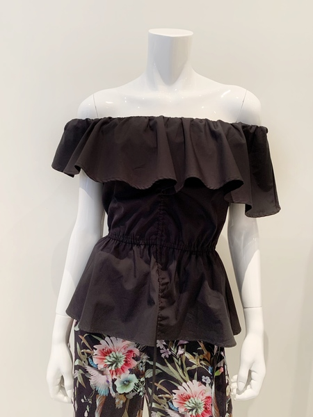 Fuzzi asymmetric cotton ruffle top with adjustable cinch - Black