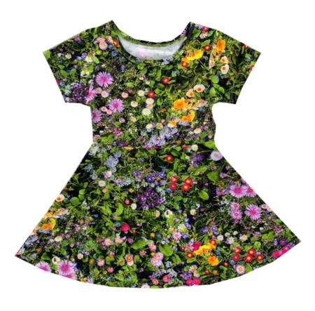 Kids Romey Loves Lulu Skater Dress - Green Flowers