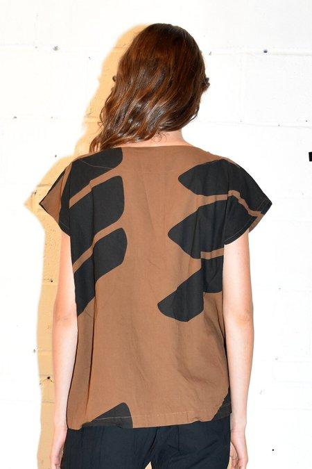 Uzi NYC Printed Tunic - Brown Swipe