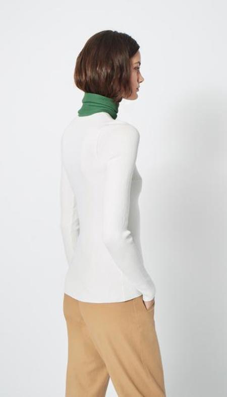 Smythe Turtleneck Pointelle Sweater - White/Green