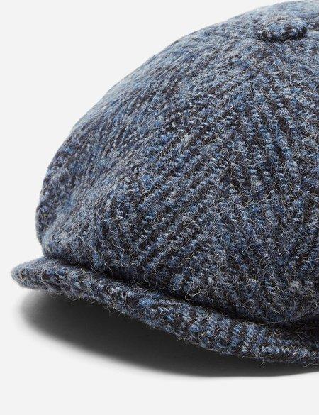 Stetson Hatteras Herringbone Newsboy Cap in Wool - Blue