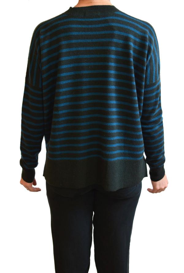 Demylee - Bennie Cashmere Striped Sweater (Olive & Eclipse Stripes)